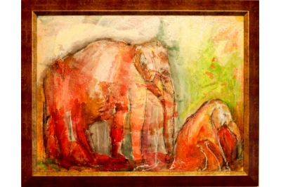 """Подарете изкуство! - Картината """"Два слона"""" на Дари Савова"""